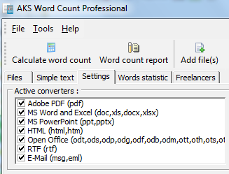 Count words in various file formats